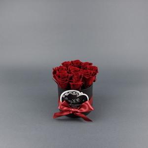 『Coffret de Rose (コフレ・ドゥ・ローズ)』レッド-Size S (直径 約 9cm  高さ 約11cm  バラ本数 約10本)