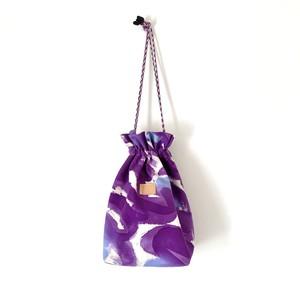手染めの帆布きんちゃくバッグ / palette-purple