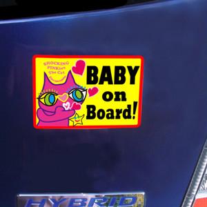 マグネットサイン 「Baby On Board(赤ちゃん乗ってます)」 高耐水&耐候性マグネットサイン: 猫のショッキングピンキー 期間限定特別デザイン(慌てて地球に来ると付けヒゲ忘れちゃう貴重な瞬間)