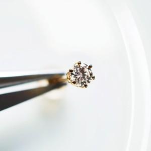 K18 片耳 0.14ct ダイヤモンドピアス【ユニセックス】