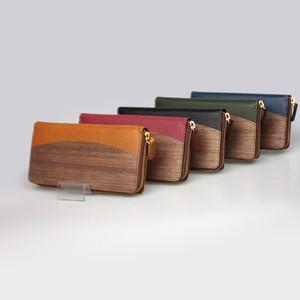 木と革のお財布 --- ラウンドファスナーロングウォレット