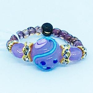 Item458 小粒のバラ模様のヴェネチアンガラスのリング アラバストロ ローズ
