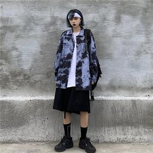 ゴスロリ シャツ 長袖 絞り染め風シャツ 病み可愛い ストリート系 韓国 オルチャン 原宿系 10代 20代