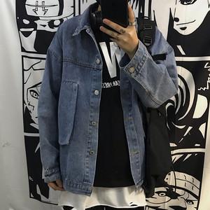 【アウター】原宿風デニム切り替えシングルブレストジャケット