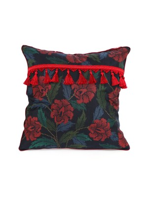 TASSEL CUSHION COVER - red peony