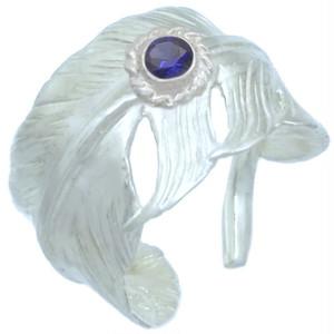(9月)サファイア ホワイト フリー フェザー シルバー リング 誕生石*BR-1046