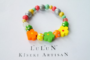 LuLuNキッズブレスレットStone&Wood(フラワープリンセスシリーズ2)
