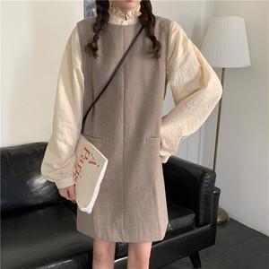 【ワンピース】韓国風学園風ファッション若見せ合わせやすいins大人気ワンピース