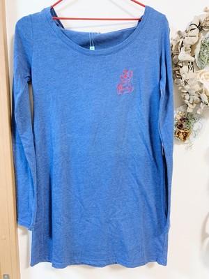 天然藍染フード付きロングTシャツ