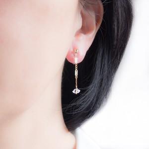 ハーキマーダイヤモンドの飾りチェーンイヤリング(ノンホールピアス)