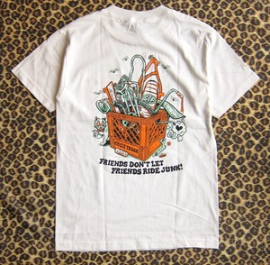 Cycle Trash 21th anniversary T-shirt - White- crate-full color- by Burrito Breath