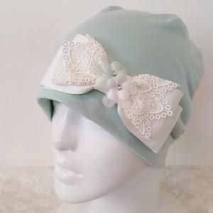 お花とレースのケア帽子 薄いグリーン9