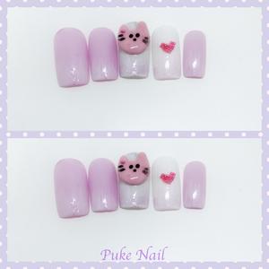 3D可愛ニャンチャン♡薄い紫ネイルチップ/つけ爪