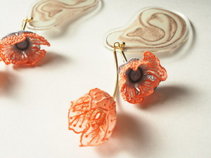ARRO / Embroidery earing / FLOWERS AT DAWN / PINK