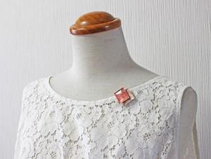 博多織樹脂ブローチ (RB-7) ピンク オレンジ レジン 和装 着物 博多献上