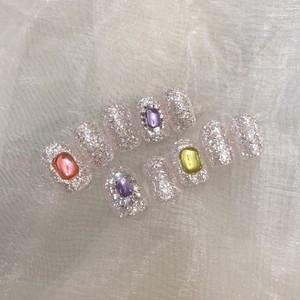 Nail tips【Aurora pink lamé】