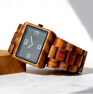 """【Pono Woodworks】 """"Koa Solid Wood Watch - Square Black Face"""""""