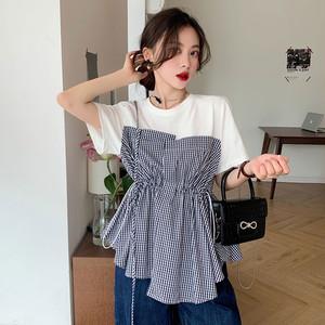 【トップス】韓国系半袖ラウンドネックプルオーバー切り替えTシャツ47999293