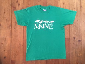 USED 80s USA製 Hanes MAINE Tシャツ M グリーン
