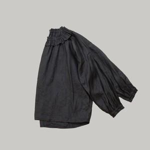 リネンフリルギャザーブラウス*ブラック