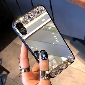 【送料無料】ラインストーン iPhoneケース ミラー付き iPhoneX 7plus/8plus iPhone8 iPhone7 iPhone6 iPhone6plus キラキラが可愛いa427