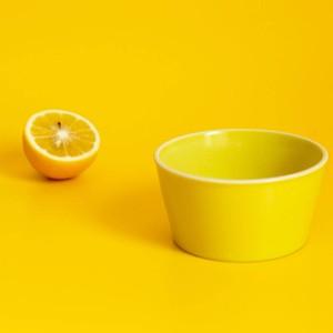「シエル Ciel」きほんのうつわ 小鉢 ふた付レンジパック(キャニスター) 直径約10×深さ6cm イエロー 美濃焼 520132