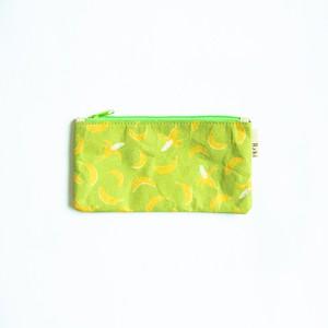Ashi|亜紙 Flat Pouch M*Banana Green 紙ポーチ フルーツ柄 バナナ ハンドメイド