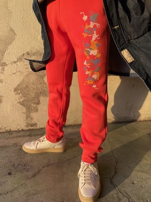Cross-stitch Print sweat pants 2021
