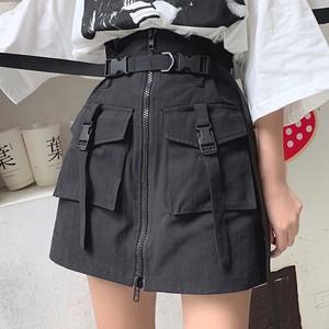 【ボトムス】簡約無地Aラインハイウエストスカート