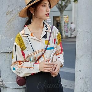 【トップス】流行り韓国系POLOネックランタンスリーブ総柄シングルブレストシャツ41248683