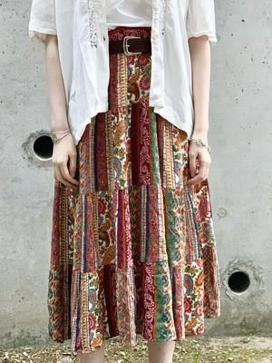Vintage Paisley Rayon Tiered Skirt
