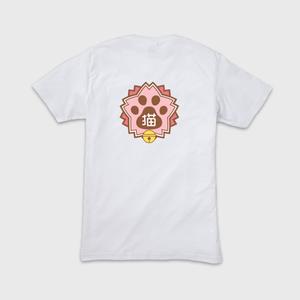 メンズVネックTシャツ(背面プリント) 【にゃんこ学園校章】