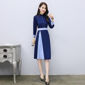 【dress】Hit color single-breasted formal dress