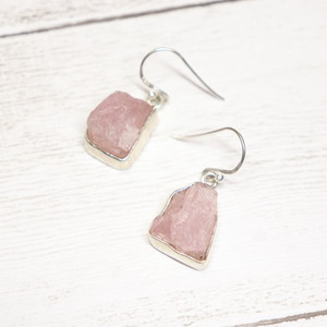 Gem Earrings(Rose Quartz )