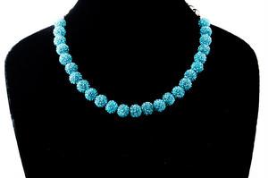 ラインストーンパヴェボールネックレス pve-neckturquoiseblue25 ターコイズブルー パヴェ キラキラ