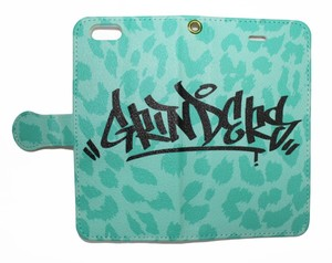 GRINDERS tag iPhone case notebook type (Tiffany green)