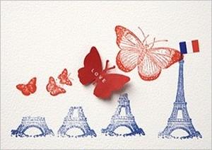 フランス直輸入 ポストカード Eiffel tower with butterflies