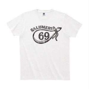"""Tシャツ """"サルメリア69"""" white フロッキー仕上げ"""