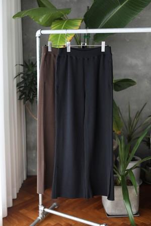 【PHENNY】T/C big waffle side slit pants BLACK