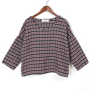 twill check blouse / black