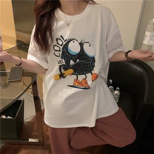 【トップス】韓国系半袖カートゥーンプリントラウンドネックTシャツ47501396