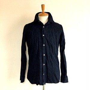 Wrinkled Denim Short Collar Shirts Indigo