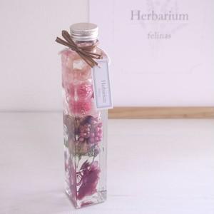 ハーバリウム【Herbarium】アンティーク・ピンク 角瓶ロング