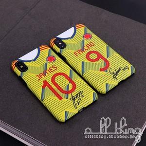 「NATL」コロンビア代表 2019 サッカー ホームユニフォーム ハメスロドリゲス ラダメルファルカオ サイン入り iPhoneXS iPhone8 ケース