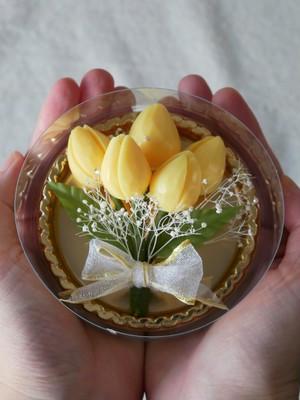 ソープカービングフラワー【淡い黄色のチューリップ】 手のひらサイズの贈り物シリーズ