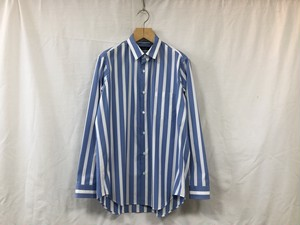 "semoh""gather shirt stripe blue"""