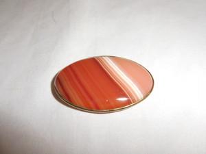 縞メノウ帯留 stripe agate obi sash clip(No8)