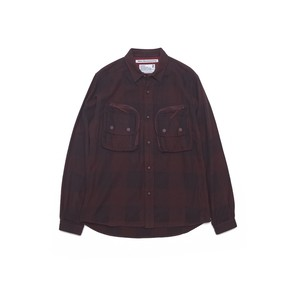 HERRINGBONE BIG CHECK FLANNEL SHIRT WITH ZIPPED BIG CHEST POCKETS - BURGUNDY