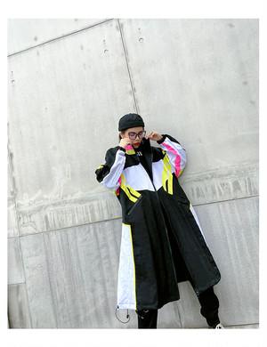 ★UNISEX  スポーティーロングナイロンコート 韓国ファッション