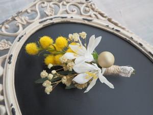 Petit bouquet de fleurs<mimosa>*野花のおめかしブローチ*コサージュ*ミモザ*プリザーブドフラワー*花*記念日*キッズ*撮影*入学式*入園式*ギフト